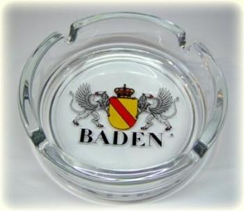 Glasaschenbecher mit dem Badischen Wappen