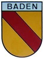 """Baden in Wappenform mit Textbalken """"Baden"""" groß"""