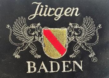 Kochjacke in Schwarz mit Wappen Baden und individuellem Namen