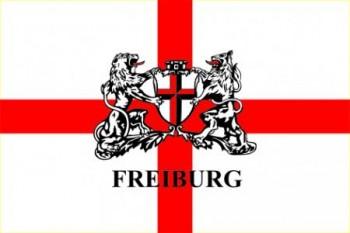 Freiburg Hissflagge im Querformat mit Wappen