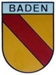 Baden in Wappenform mit Textbalken