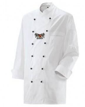 Kochjacke in Weiß mit Wappen Baden und individuellem Namen