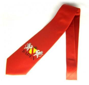 Krawatte Baden Design 4 rot mit Greifen und Wappen