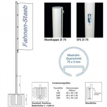 Fahnenmast ZI 75 SFS Schnellfixiersystem 6m