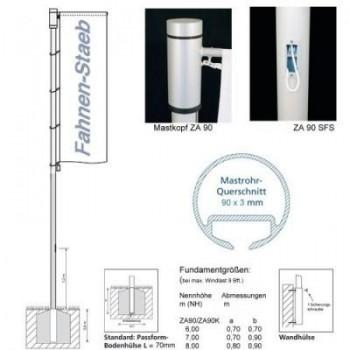 Fahnenmast ZA 90 SFS Schnellfixierungssystem