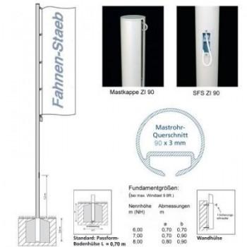 Fahnenmast ZI 90 SFS Schnellfixiersystem