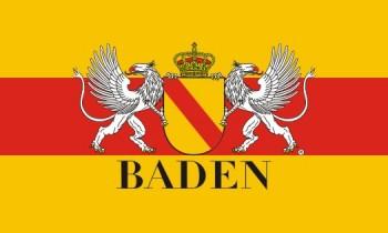 Fahne - Hißflagge Quer - Baden ca. 100 x 150 cm mit Wappen und Greif