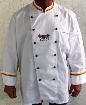 Kochjacke in Weiß veredelt mit badischen Farben und Wappen Baden