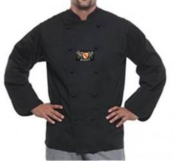 Kochjacke in Schwarz mit Wappen Baden