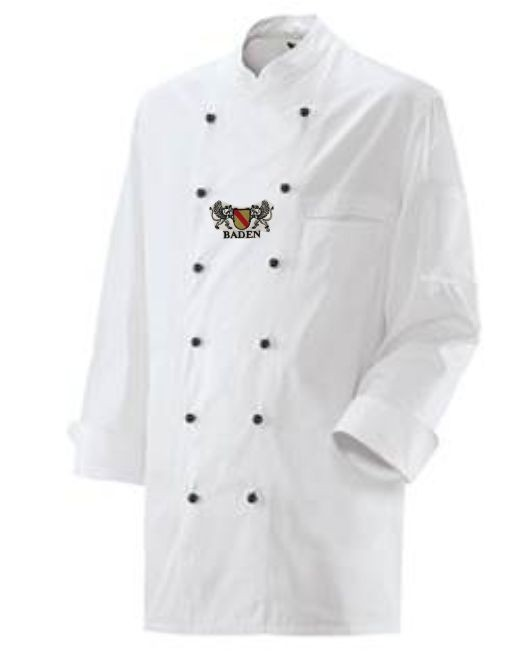 Kochjacke in Weiß mit Wappen Baden XXL
