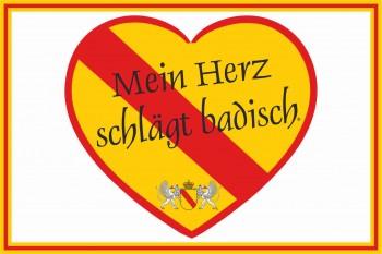 Bad. Hissflaggen im Querformat - Mein Herz schlägt badisch!