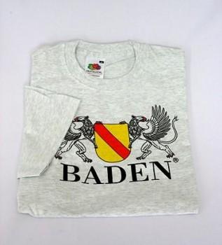 Qualitäts-T-shirt mit Wappen Baden ash/grau / XXL