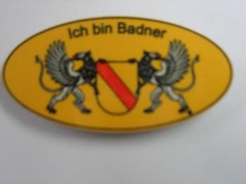 """Namensschild mit Magnet oval """"Ich bin Badner"""""""