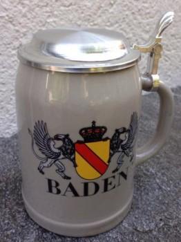 Bierkrug mit Zinndeckel Baden