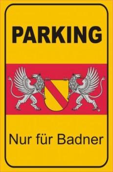 Alu-Schild Parken nur für Badner 20x30