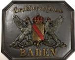 Großherzogt. Baden Mineralsguß Grenztafel für Innen zur Dekoration