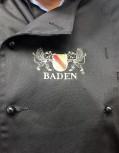 Kochjacke in Schwarz mit Wappen Baden M