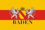 Bad. Hissflaggen im Querformat mit Wappen